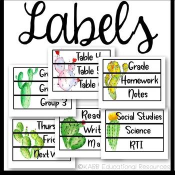 Sterilite Drawer Labels   Cactus Theme