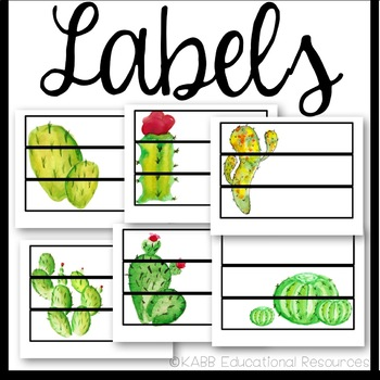 Sterilite Drawer Labels | Cactus Theme