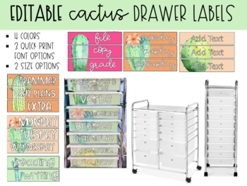 Sterilite Drawer Labels - Cactus Watercolor