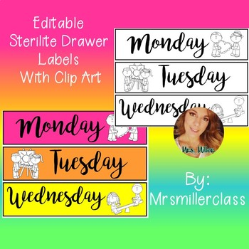 Sterilite Drawer Labels Clipart Students EDITABLE
