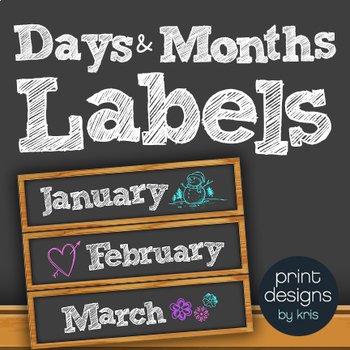 Sterilite Drawer Labels - DAYS and MONTHS - BLACK Chalkboard Design Style