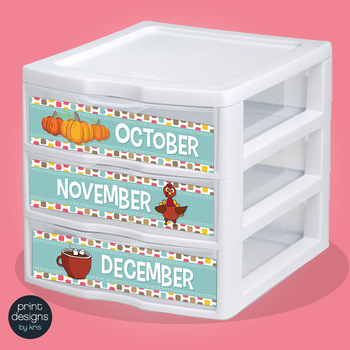 Sterilite Drawer Labels - DAYS and MONTHS - Retro Design Style