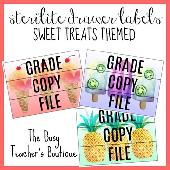 Sterilite Drawer Labels- Sweet Treats Themed EDITABLE