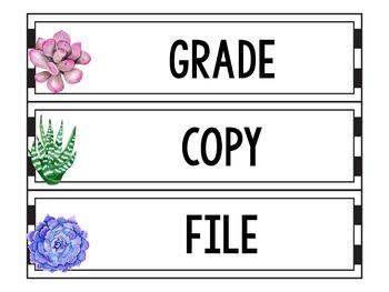 Sterilite Drawer Labels EDITABLE, Cactus Classroom