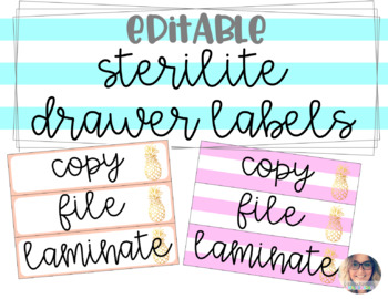 Sterilite Drawer Labels EDITABLE - Preppy Pineapple Theme