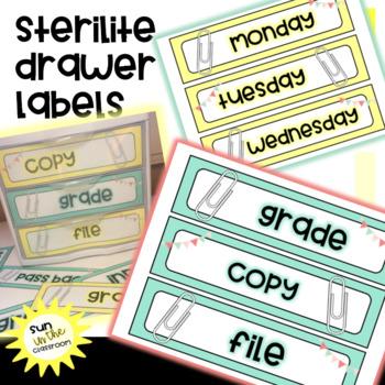 Teal Yellow Gray Sterilite Drawer Labels Editable