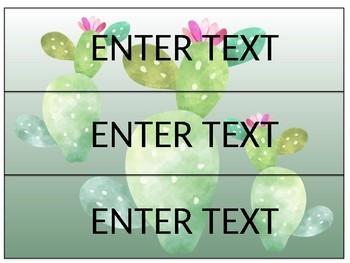 Sterilite Drawer Labels- Cactus Themed EDITABLE