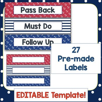 Sterilite Drawer Labels - Nautical theme EDITABLE