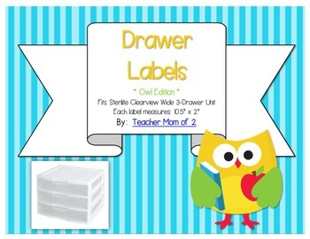 Sterilite Drawer Labels - Owl Theme