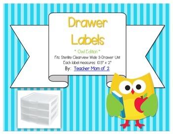 Sterilite Drawer Labels - Owl Theme
