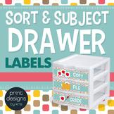 Sterilite Drawer Labels - SORT and SUBJECT - Retro Design Style