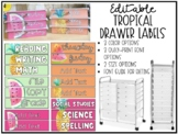 Sterilite Drawer Labels - Tropical EDITABLE
