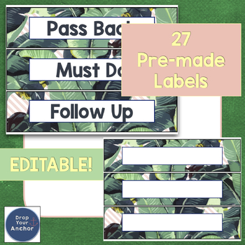Sterilite Drawer Labels - Tropical theme EDITABLE