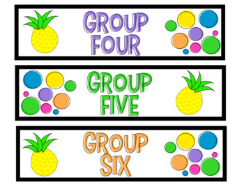 Sterilite Drawer Labels -- White and Neon Pineapples