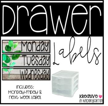 Sterilite Drawer Monday-Friday Labels- Botanicals Edition