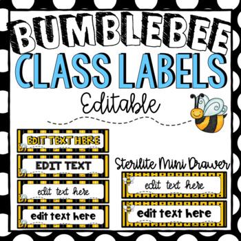 Sterilite Mini Drawer Labels ~ Bumblebee Theme ~ Editable