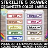 Sterilite Small 5 Drawer Organizer: Colored Pencil, Marker, & Crayon Labels