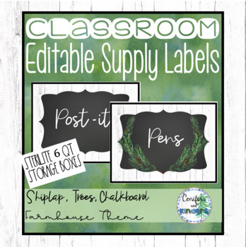 Sterilite Supply Box Labels - Editable, Shiplap, Forest, Calm Classroom Decor