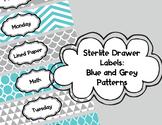 Sterlite Drawer Labels: Grey and Blue Patterns