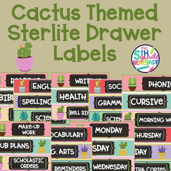 Sterlite Drawer Labels Subjects Cactus Succulent Theme