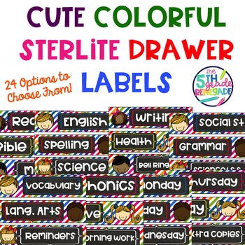 Sterlite Drawer Labels Subjects Colorful Cute Kids Theme