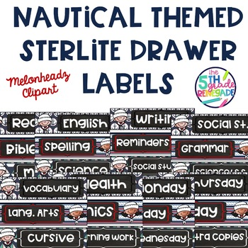 Sterlite Drawer Labels Subjects Nautical Theme
