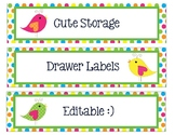 Sterlite Storage Drawers Boho Birds Theme EDITABLE