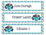 Sterlite Storage Drawers Lime Green, Purple, Teal and/or Peacock Theme Editable
