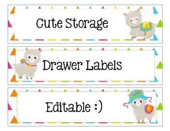 Sterlite Storage Drawers Llama or Alpaca Theme EDITABLE