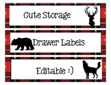 Sterlite Storage Drawers Lumberjack or Camping Theme EDITABLE