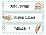 Sterlite Storage Drawers Sloth Theme EDITABLE