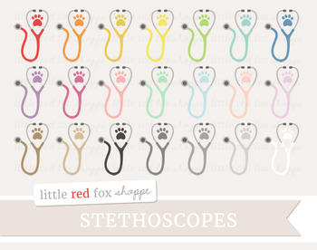 Stethoscope Clipart; Paw, Veterinarian, Animal