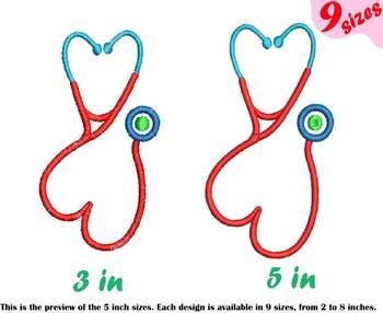 Stethoscope Heart Embroidery Design Nursing Nurse frame doctor love heart 210b