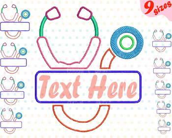 Stethoscope Split Embroidery Design Nursing Nurse frame doctor medic 160b