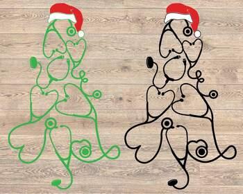 Stethoscope christmas tree SVG - Nurse Squad elf nurse family Mom svg 1596S