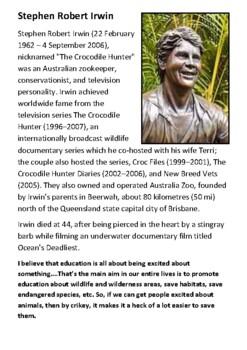 Steve Irwin Handout
