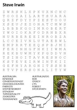 Steve Irwin Word Search