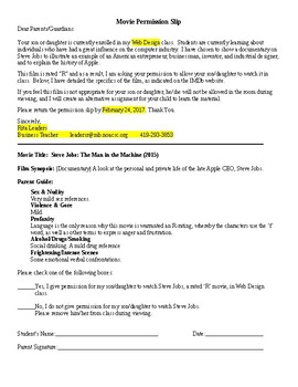 Steve Jobs - Movie Permission Slip