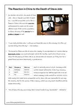 Reading Comprehension and Vocabulary Worksheet - Steve Jobs