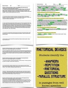 Expository Text: Steve Job's Speech and Rhetoric Worksheets RI 9-10 6  Aligned