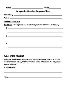 Steven Kellogg Menu and Reading Response Sheets