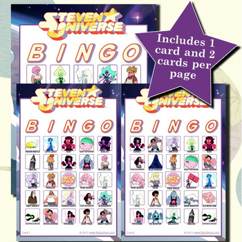 Steven Universe 5x5 Bingo 30 Cards