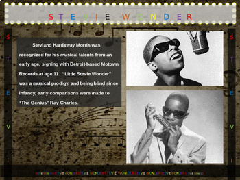 Stevie Wonder: 25 slides with text, hyperlinks, primary sources, & handouts
