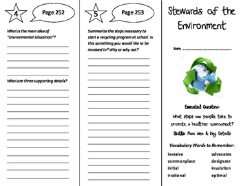 Stewards of the Environment Trifold - Wonders 6th Grade Unit 3 Week 5