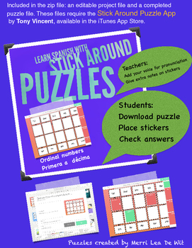 Stick Around Puzzles: Play to Learn Spanish/ordinal numbers