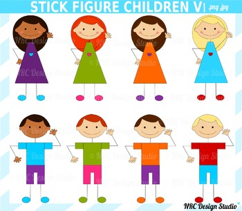 Stick figure children clipart commercial use
