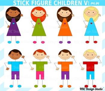 Stick Children Clip Art