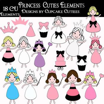 Stick Cutie Princess - People Family School Kids - Digital Clip Art Set