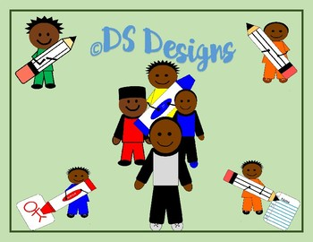 Stick Figure African American Boys School Themed Clip Art