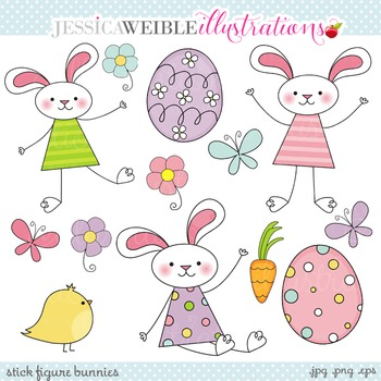 Stick Figure Bunnies Cute Digital Clipart, Easter Bunny Clip Art
